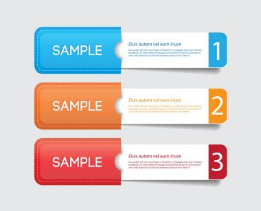 Three vector paper tags - labels - banners in the pockets, one two three steps