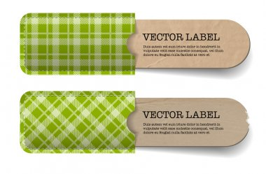 Abstract vector vintage old paper tags with green tartan textured pockets