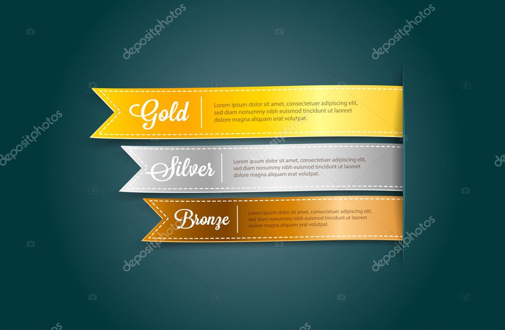 Vector silky ribbon tags collection. Gold, Silver, Bronze