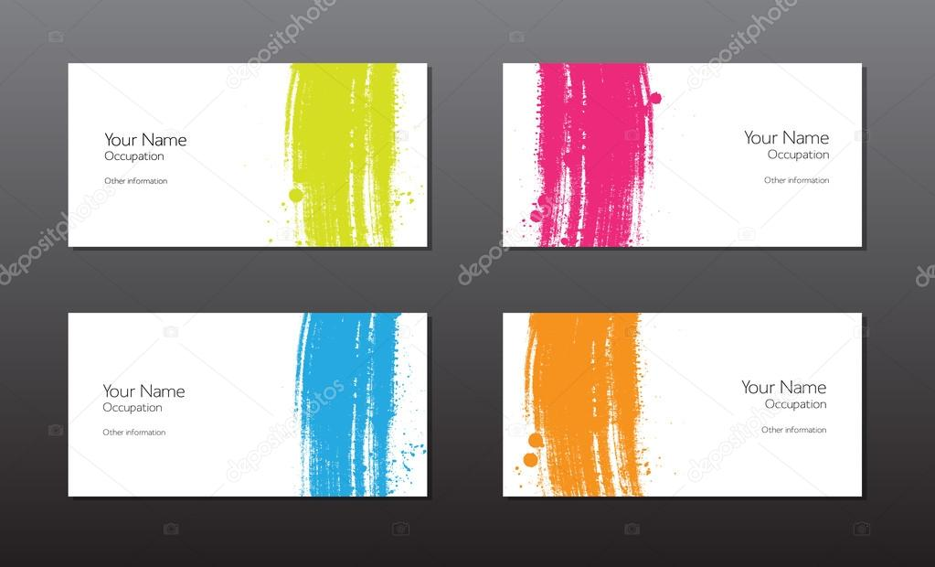 Four vector business cards template with hand painted brush ...