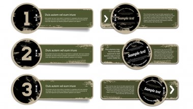 A set of green khaki vector vintage military style badges with grunge weathered paint background and metallic staples