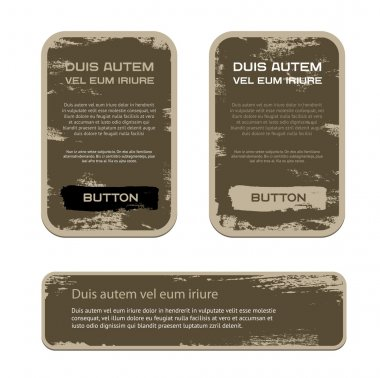 A set of brown vector vintage military style badges with grunge weathered paint background