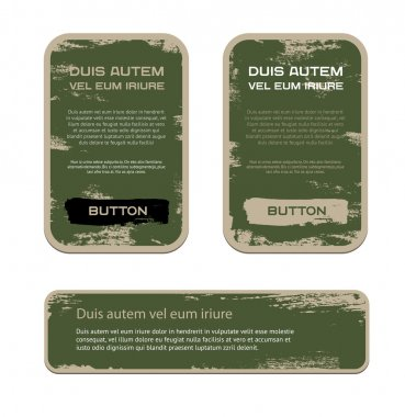 A set of green vector vintage military style badges with grunge weathered paint background stock vector