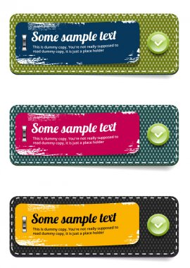 Vector fabric rectangular colorful badges set with paper stickers and glossy green buttons