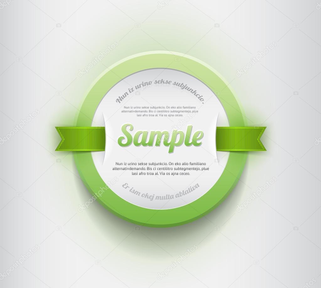 vector blanco redondo plástico placa - banner con borde verde y unas ...