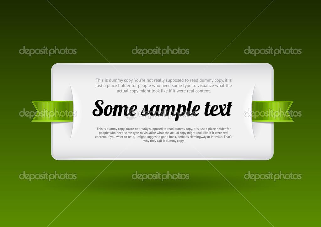placa de plástico blanco vector - banner con unas cintas verdes ...