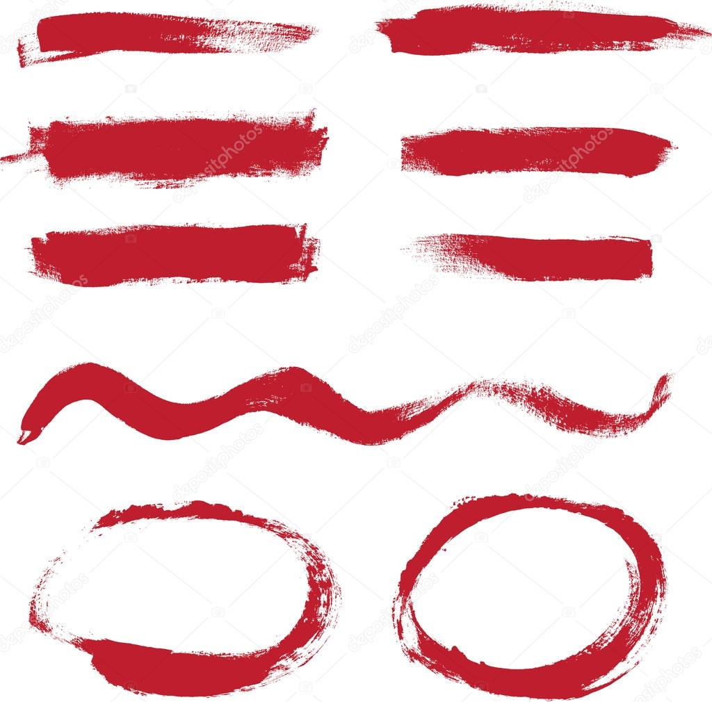 Red hand painted vector abstract brush strokes and circles collection
