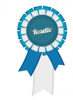 Blue and white vector detailed fabric textured ribbon rosette