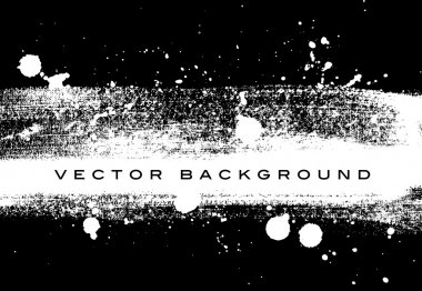 Black and white vector grungy brush stroke hand painted background with paint splatter