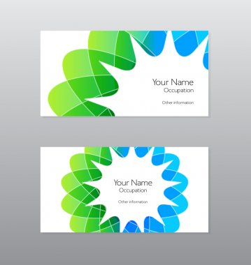 Abstract vector green and blue geometric shape business card design