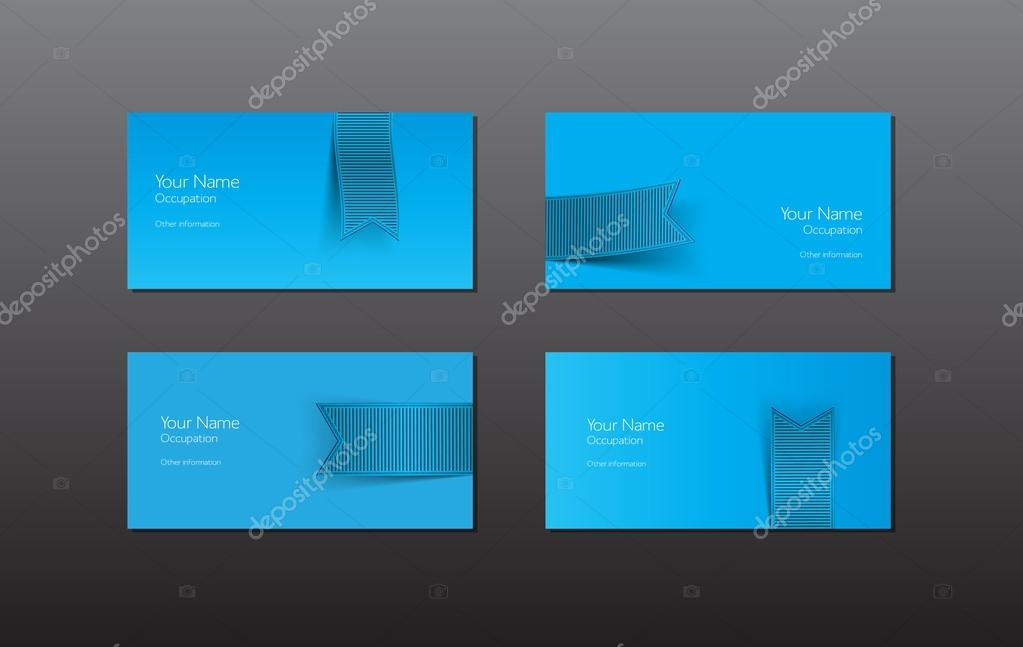 Abstract vector business cards - banners with blue ribbon — Stock ...