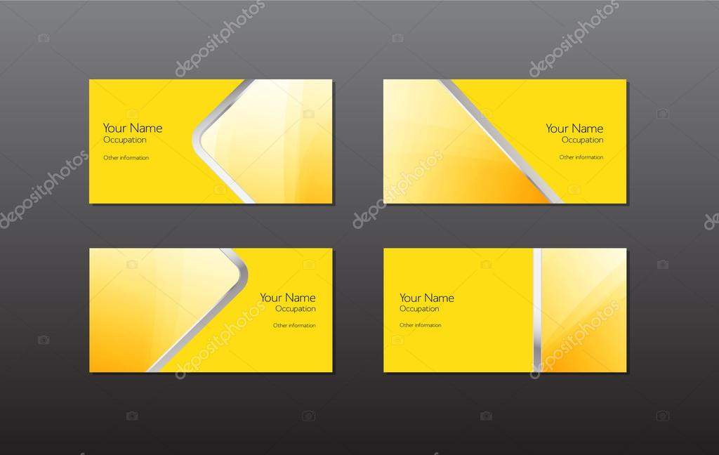 Abstract yellow vector business cards - banners collection — Stock ...