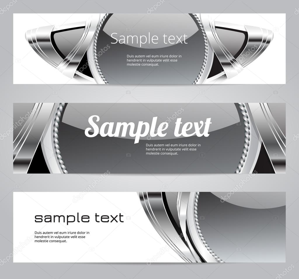 Gray glossy vintage automotive vector banners
