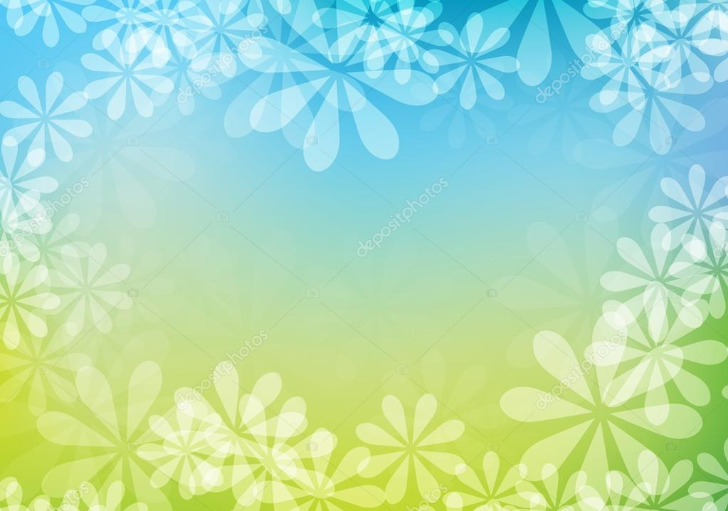 Abstract vector summer green and blue floral subtle soft background