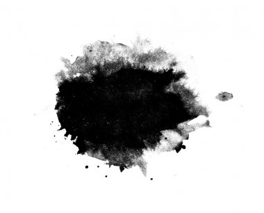Abstract isolated black ink stain stock vector
