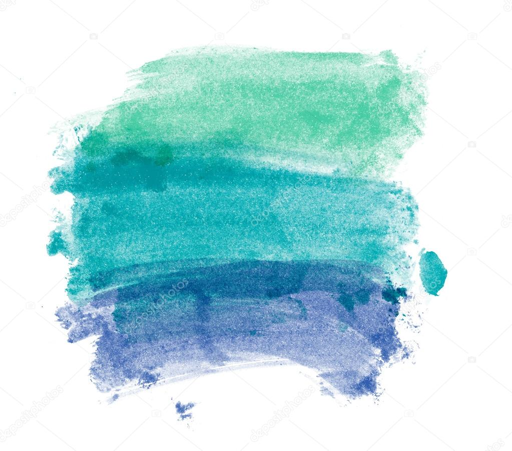 Green and blue hand painted brush strokes watercolor daub