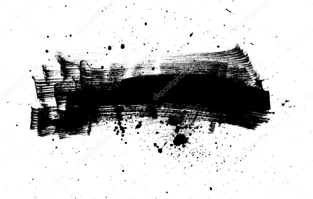 black abstract brush strokes composition with paint splatter stock