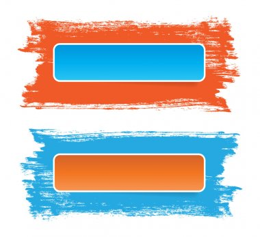 Bright stickers banners on hand-painted daub backdrops, orange - blue