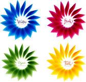 Satz von abstrakte florale Vektor-Formen, gelb blau grün und rot