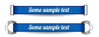 Two blue vector ribbons with metal buckles and rings