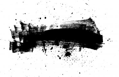 Black vector abstract brush strokes composition with paint splatter