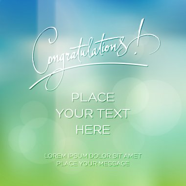 Vector blurry soft congratulations greeting card with photographic bokeh effect