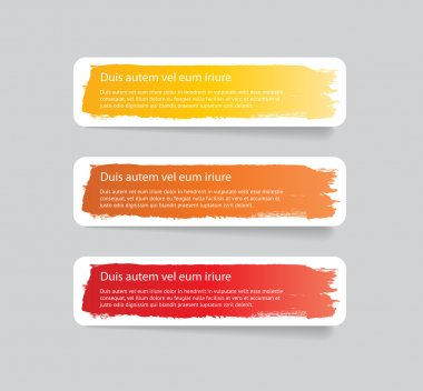 Three colorful vector stickers - labels - tags with a brush stroke hand painted background