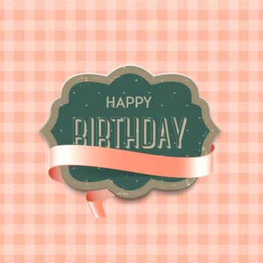 Vector vintage die-cut birthday greeting card with pale pink glossy ribbon on cute pink background