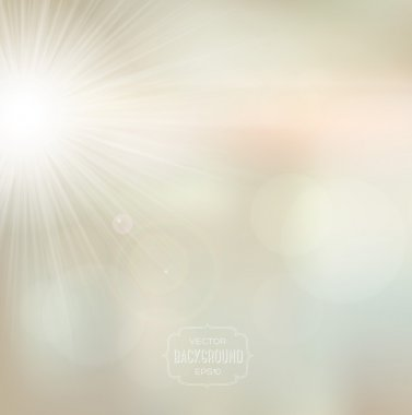 Vector blurry soft light beige background with photographic bokeh effect and bright sun. Pale beige tones. Smooth unfocused film effect. Radiant rays, a bright warm day outdoors. stock vector