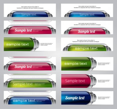 Set of twelve colorful glossy vector banners