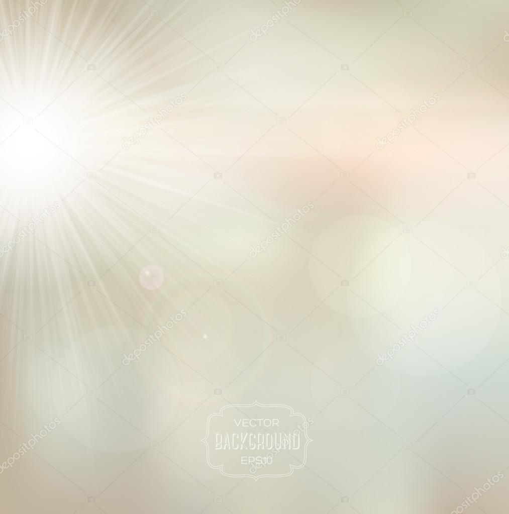 Vector blurry soft light beige background with photographic bokeh effect and bright sun.