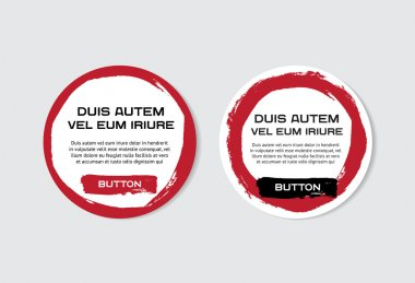 Two red vector grungy round paper stickers