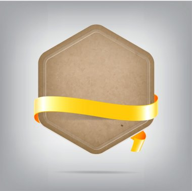 Vector hexagonal old paper cardboard banner with yellow silky ribbon