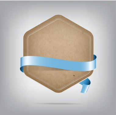 Vector hexagonal old paper cardboard banner with pale blue silky ribbon