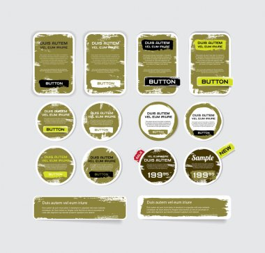 A set of khaki vector grungy paper stickers, labels, tags and banners with hand painted - cracked paint worn out backgrounds stock vector