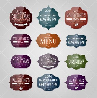 Vector set of vintage glossy plastic labels for christmas, birthday, valentine's day, restaurant menu