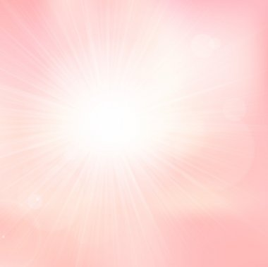 Vector light and subtle background with shiny sun over a pale pink sky