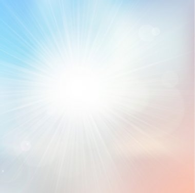 Vector light and subtle background with shiny sun over a pale sky