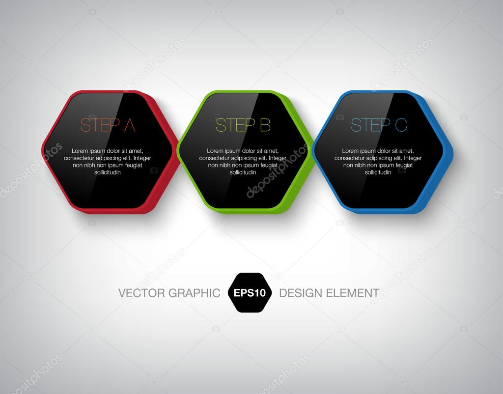 modernas cajas hexagonales infografía 3d — Archivo Imágenes ...