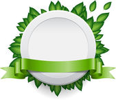Vector white round plastic banner with green leaves and a ribbon