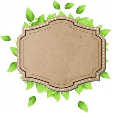 Vintage cardboard paper vector banner with fresh green leaves