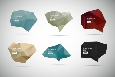 A collection of vector abstract polygonal 3d speech bubbles