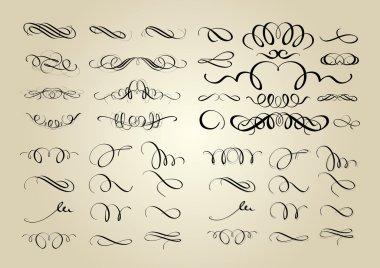 Set of calligraphic swashes and flourishes