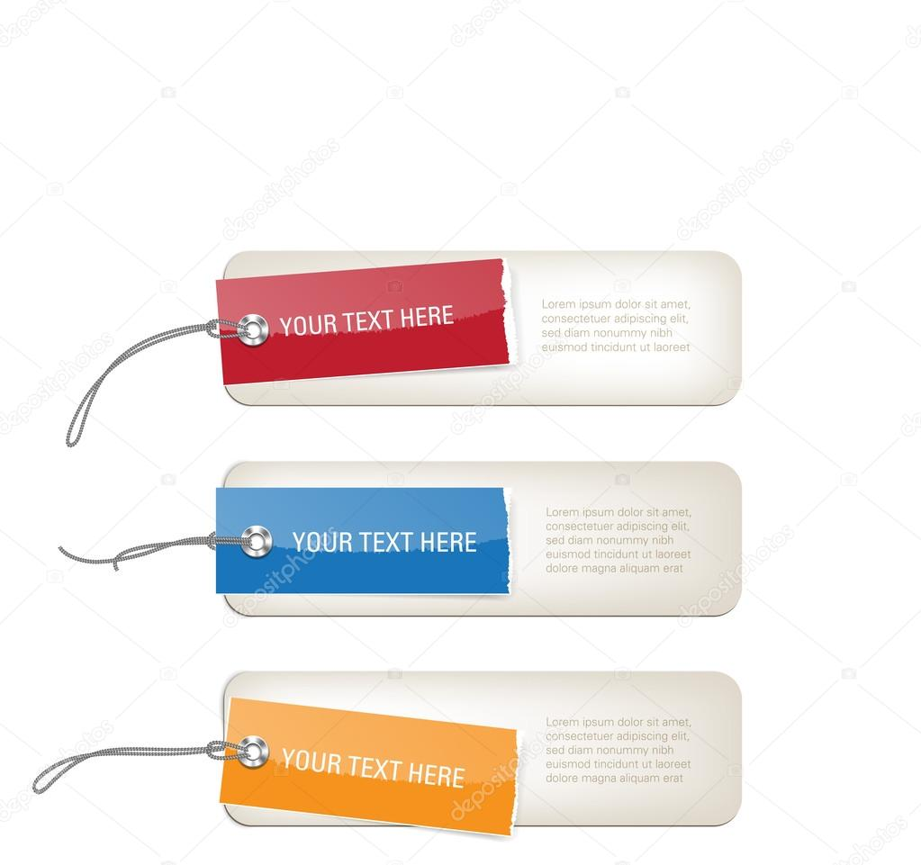 A set of vector glossy paper banners - price tags — Stock