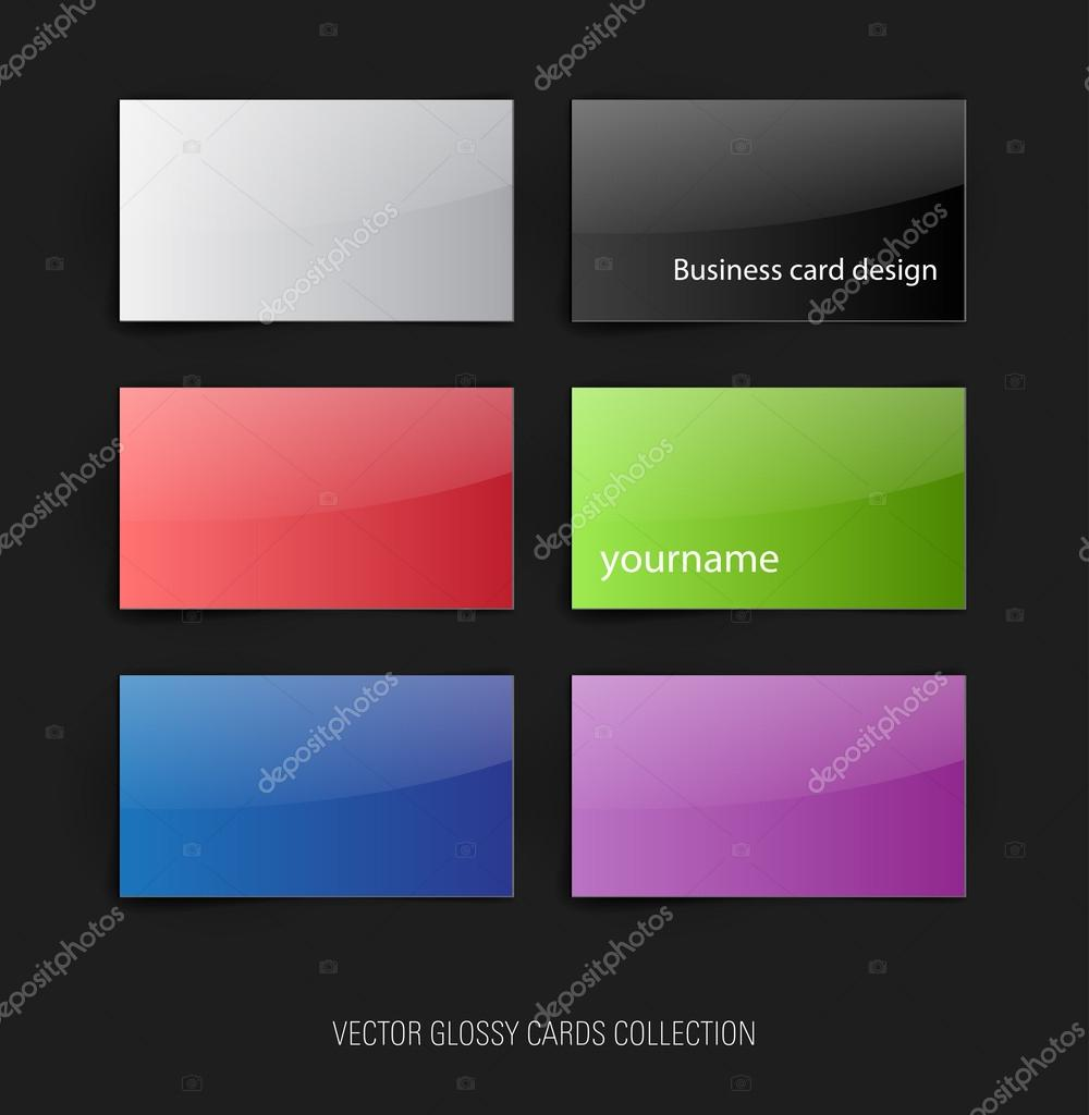 A set of vector glossy colorful paper cards — Stock Vector ...