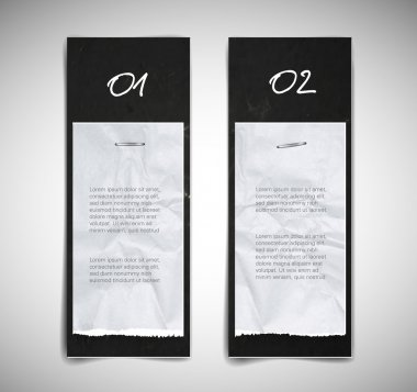 A set of black vector cardboard banners with torn paper pieces attached