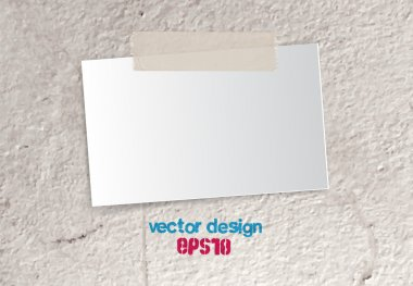 Vector piece of paper - card attached with sticky tale