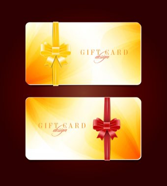 Vector gift card templates with soft abstract backgrounds and silky ribbon bow knots