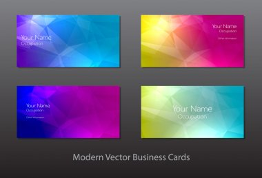 A set of modern vector business cards with polygonal background