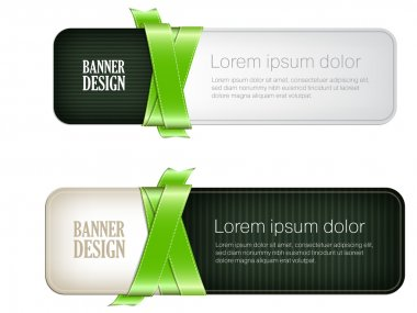 Two green vector banners braided with silky glossy ribbons